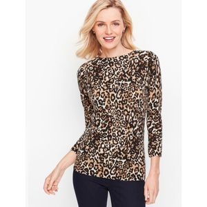 NEW TALBOTS PURE CASHMERE AUDREY SWEATER CHEETAH